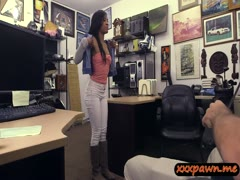 Sexy black babe fucked by pawnkeeper for a golf club