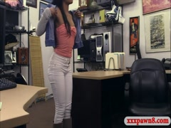 Ebony gets her shaved twat banged by pawn man for golf clubs