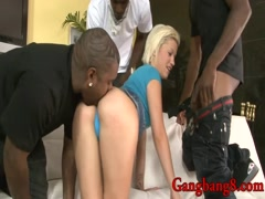 Cute blonde teen girl anal interracial gangbang by BBC