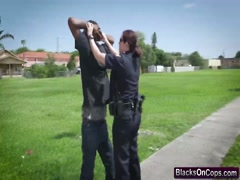 Horny female cops arresting a suspect's big black cock