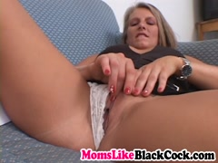 Sexy blonde cougar riding big black cock on couch