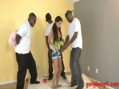 Very slim teen gets her tight ass railed by black men