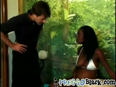 Pregnant black chick receives white cock from behind