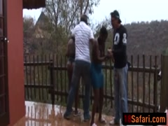 Busty African sluts bonded and abused outdoors