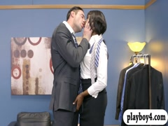 Small tits ebony babe gets screwed by a man in tuxedo