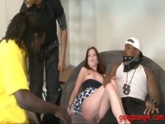 Tight redhead teen girl anal screwed by big black cocks