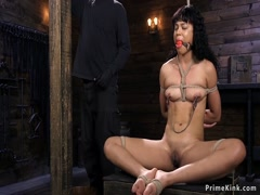 Hogtied ebony slave fucked with dildo