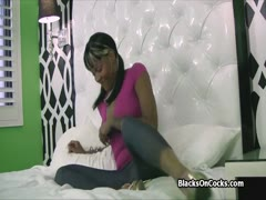 Juicy black amateur pounded by white on audition
