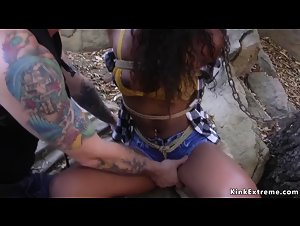 Dude fingering ebony slave squirter