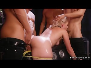 Blonde in bdsm swing gangbang fucked