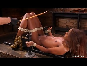 Shackled ebony anal bdsm banged