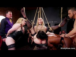 Blonde and ebony are anal fucked orgy