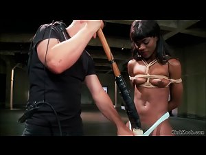 Tight bodied ebony bdsm banged