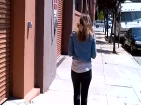 Big Ass Walking In Tight Black Jeans
