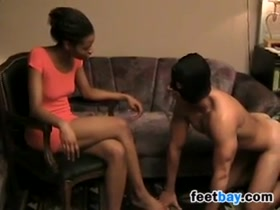 Ebony Feet Worshipping By A Slave
