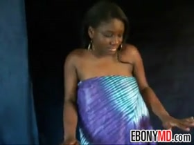 Busty Ebony Chick Dances Naked
