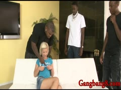 Cute blonde teen Bibi Noel double pounded by black boners