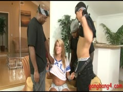 Kinky blonde slut Aiden Aspen analyzed by many black cocks