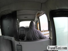 Busty ebony babe sucks off and gets screwed by the driver