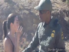 Black officer smashes a sweet teen outdoors in the border