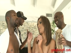 Nasty brunette babe Keira King double fucked by black guys