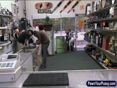Ghetto chick pounded by nasty pawn man at the pawnshop