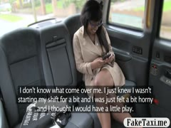 Ebony with glasses banged by the driver in the backseat
