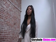 Big tits ebony Nadia Jay sucks big dick from glory hole