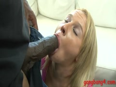 Nasty blonde babe double penetrated by big black cocks