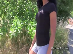 Ebony amateur flashing bum in public