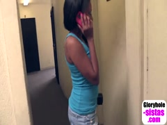 Black sista phone sex while enjoying glory hole blowjob