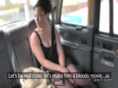 Natural busty ebony fucks in fake taxi pov