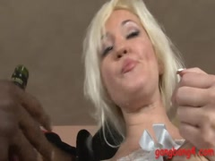 Kinky blonde woman DPed by black throbbing stiff cock