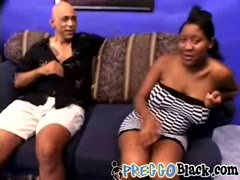 Preggo black whore is fucked hard by two horny guys