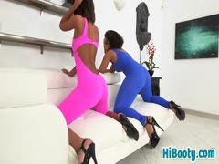 Two booty babes satisfying one guy