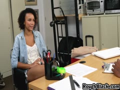 Cheerful petite black teen strips in casting interview