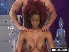 Oiled massage ebony Jasmine Webb doggy style