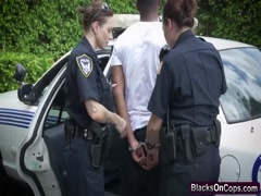 Busty cops uniform outdoor blow ride bbc threesome
