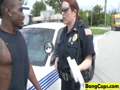 Uniform cops fucking threesome blowjob interracial