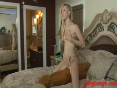 Blonde punk girl gets analyzed by black men on the bed