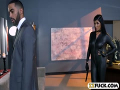 Lusty lady in latex outfit gets fucked by black dude