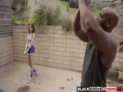Very tight blond teen Kendall gets pounded by black man