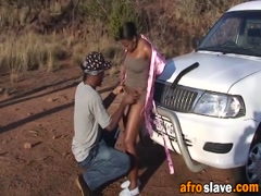 African BBW gets chained up and fucked by african master