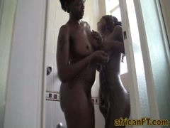 African black babes sharing white cock on bed