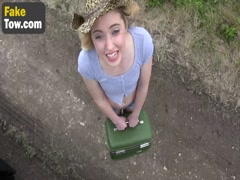 Tempting blonde bitch fucked hard by a BBC in a tow truck