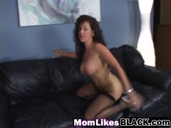 Black cock for busty brunette milf shaved pussy