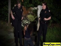 Interracial threesome with busty cops