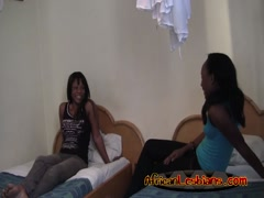 Pretty hot ebony sluts having great lesbo action