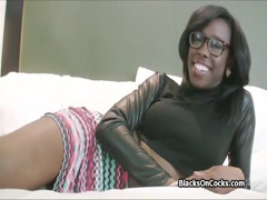 Busty black pounded hard on casting