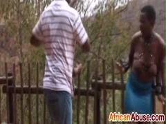 Busty African slaves get abused by studs outdoors